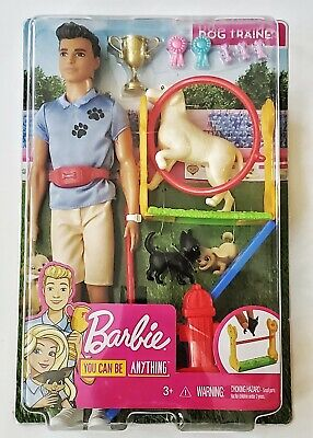 """BARBIE 12"""" KEN DOLL - DOG TRAINER PLAYSET WITH DOLL AND ACCESSORIES (NEW)"""