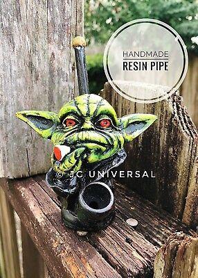 Star Wars Smoking Yoda Head Handmade Tobacco Smoking Resin Pipe,5 Brass Screens