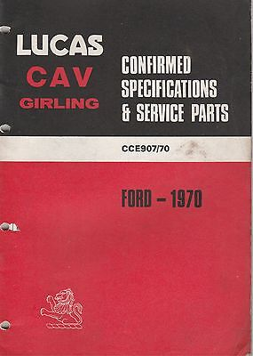 LUCAS PARTS CATALOGUE ON CD FOR ALL 1970 FORD CARS COMMERCIALS & TRACTORS
