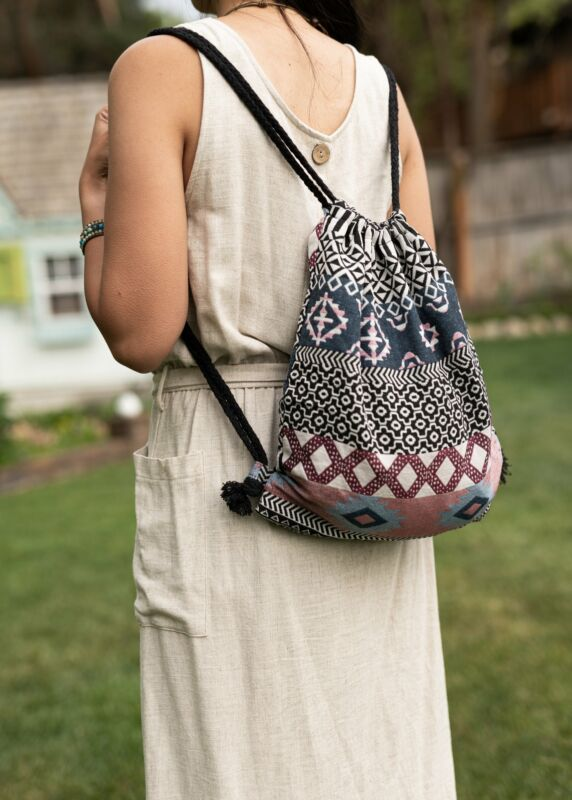 Bali Black Drawstring Multifunctional Hobo Bag & Mini Canvas Backpack With Geome