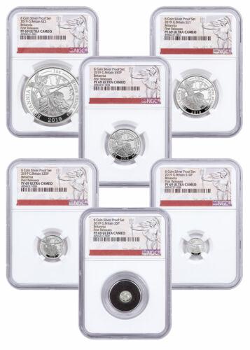 2019 Great Britain Silver Britannia 6 Coin Proof Set NGC PF69 UC FR SKU57298