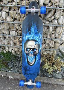 Original Longboard 41 Mit LED Rollen Blau Totenkopf ABEC 11 NEUES DESIGN