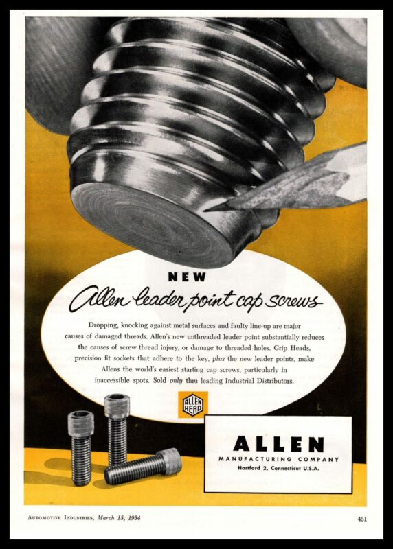 1954 Allen Mfg Co. Hartford Connecticut Leader Point Cap Screws Vintage Print Ad