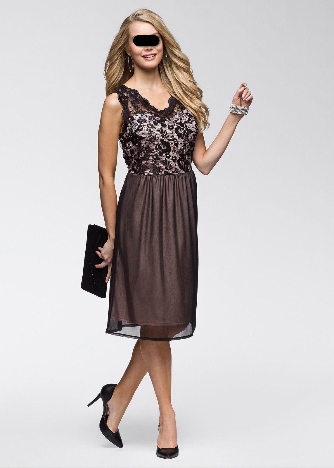 Kleid mit Spitze schwarz/hellrosa Clubwear festlich Sommer  Party