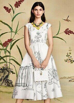 NEW Dolce & Gabbana Secret Garden Party Print Poplin Pleated A-Line Dress, It 38 Poplin Party Dress