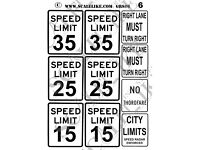 SCALELIKE INDUSTRIES N-ROADWAY SIGNS 4 PRINTED ON PLASTIC FACTORY NEW NRS-4