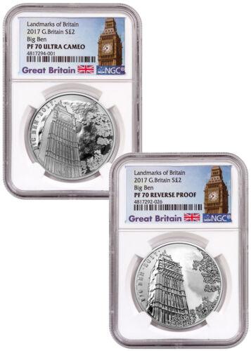 2017 Great Britain Landmarks 1 oz Silver Big Ben 2-Coin Set NGC PF70 UC SKU53765
