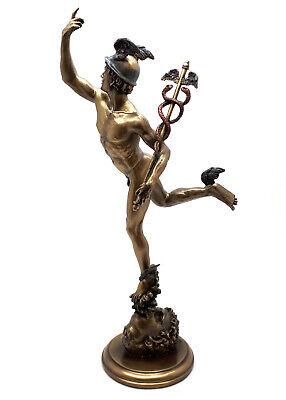 Mercury Bronze Finish - Hermes Flying Mercury Greek Roman God Statue Sculpture Figure Bronze Finish 14.7