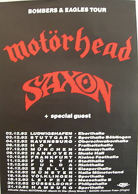 MOTORHEAD SAXON CONCERT TOUR POSTER 1992 MARCH OR DIE BOMBERS & EAGLES