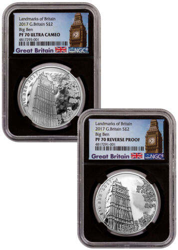2017 Great Britain Big Ben 2-Coin Set 1 oz Silver £2 NGC PF70 UC Black SKU53766