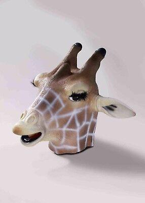 Giraffe Mask Brown & White Full Head Latex African Animal Costume Mask - Latex Giraffe Mask