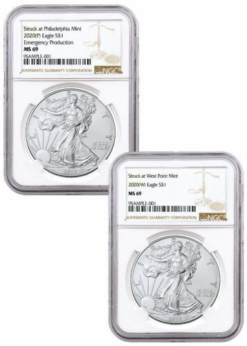 2 pc Set 2020 (P)(W) Struck at Philadelphia and West Point Silver Eagle NGC MS69