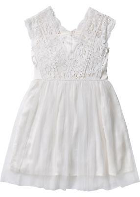 Tüllkleid mit Spitze Gr. 170 Wollweiß Mädchenkleid Prinzessinnenkleid Neu