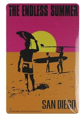 - US SELLER, The endless summer San Diego tin metal sign auto shop metal signs
