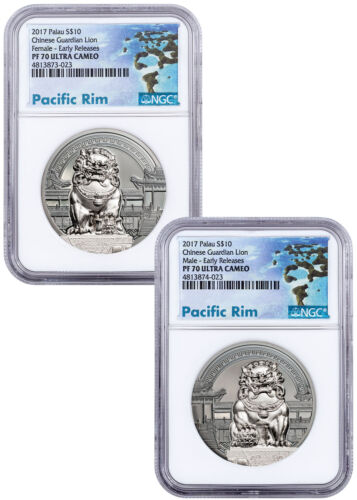 2017 Palau Chinese Guardian Lion Set of 2 HR 2 oz Silver NGC PF70 UC ER SKU51834