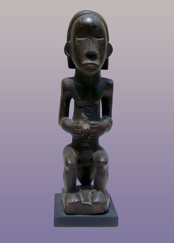"African Dan Female Figure From Liberia 10"" Tall with stand"