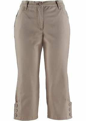 Basic Baumwoll-Hose Lycra Twill Gr. 36 Taupe Damen Stretch-Capri Kurze-Pants Neu Lycra Capri Hose