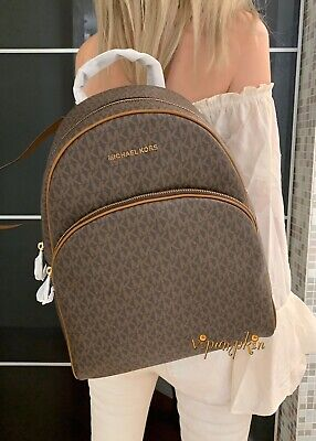 MICHAEL KORS ABBEY LARGE BACKPACK MK SIGNATURE PVC LEATHER BROWN