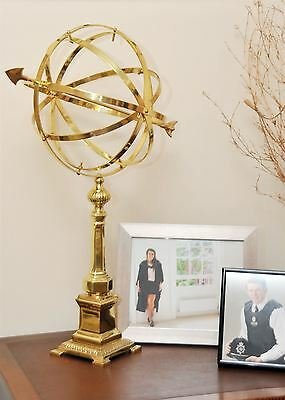69cm Tall Polished Brass Interior Globe Armillary With Stand