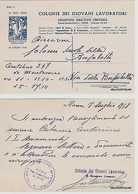 # ROMA: COLONIE DEI GIOVANI LAVORATORI 1958- AUTORIZZAZIONE PER ACCOGLIMENTO..