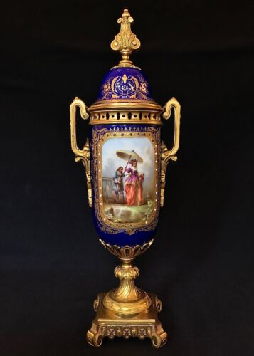Sevres or Sevres Style Lidded Urn with Gilt Bronze Mounts c.1870-1900 France
