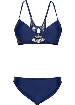 Bikini 38 Cup D Oberteil hinten mit Spitze blau 2 tlg Bügel-Bikini neu