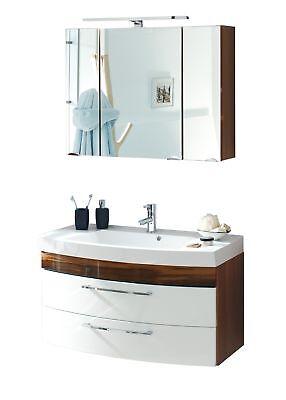Waschtischset RIMA Waschplatz und Spiegel mit LED-Leuchte 100 cm weiss walnuss