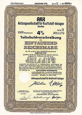AKA-Aktienges.für Kraftstoff-Anlagen Dresden-Teilschuldverschreibung 1000 RM