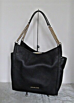 Michael Kors - Newbury Medium Chain Leather Shoulder Tote - Black