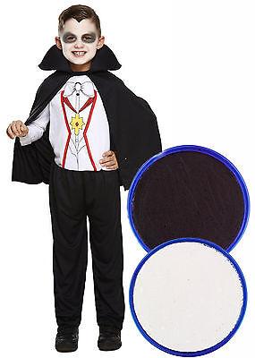 Boys Girls Vampire Dracula Kids Halloween Fancy Dress Costume + FACE PAINT 3-12 - Kids Halloween Face Paint Dracula