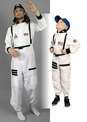 Kostüm Astronaut mit Kappe Astronautenanzug Herren Kinder Karneval - Weißen Anzug Kostüm