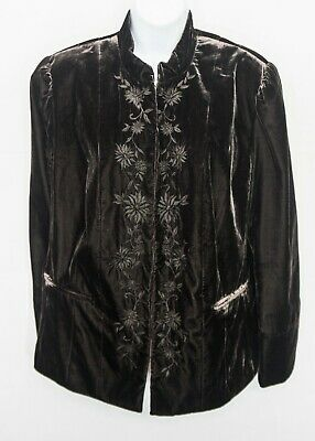 NWT APT 9 Embroidered Floral Velvet Jacket Brown Blazer Boho Womens 16W 0711
