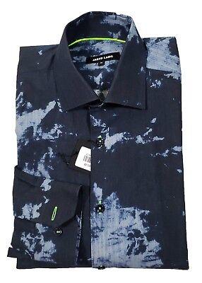 Jared Lang Men's Blue Paint Splatter Print Button Front Shirt