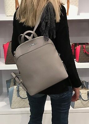 Pearl Gray Leather - MICHAEL KORS EMMY LARGE BACKPACK SAFFIANO LEATHER BAG PEARL GREY