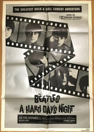 A HARD DAYS NIGHT ORIGINAL 27X41 MOVIE POSTER 1982 THE BEATLES