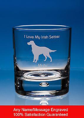 Irish Setter Whisky Glass, Dog Gift, Personalised Engraved Dog Whiskey Tumbler