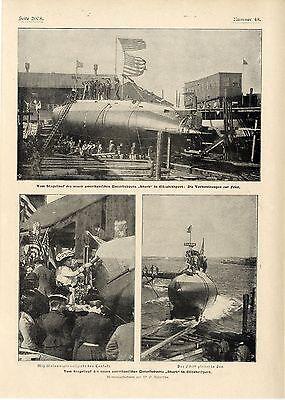 """Stapellauf des neuen amerikanischen Unterseeboots """"Shark"""" in Elizabethport 1901"""