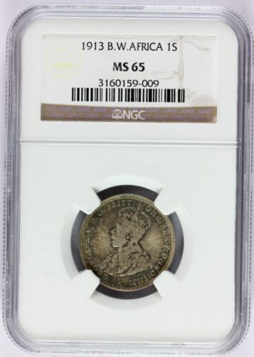 1913 British West Africa 1 One Shilling Silver Coin - NGC MS 65 Graded - KM# 12