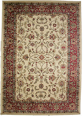 8X10 Area Rug New Persian Border Floral Kashan Large Beige Black Red Traditional