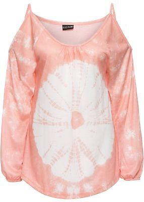 Batik-print Top (Shirt mit Batik-Print Gr. 40/42 Koralle Damenshirt Top Langarm Bluse Tunika Neu`)