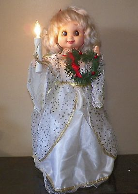 """Angel Animated Christmas Motion-ette With Candle And Wreath 24"""" Tall"""