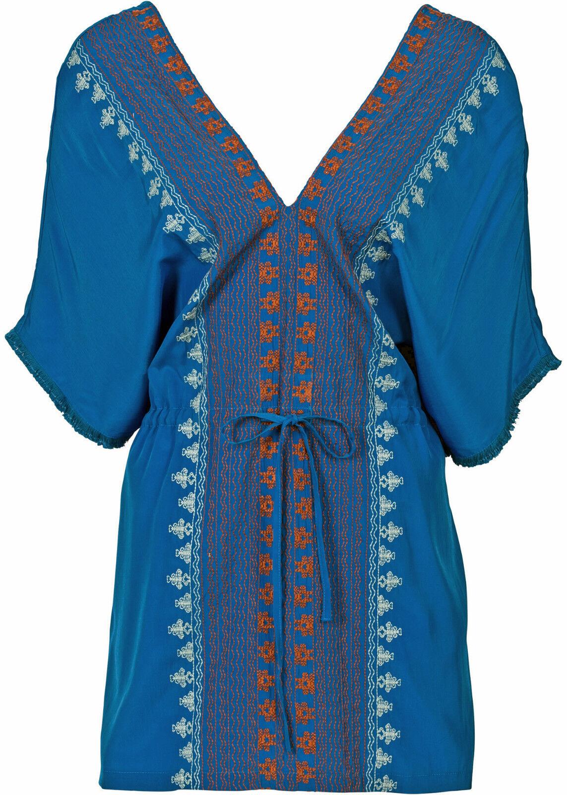 Tunika Longbluse Strandkleid Hippie Boho Style azurblau Gr.48/50 NEU 934828