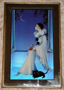 1980s Mira Fujita Pierrot Clown Mirror Print With Moon Candle Cat South Windsor Hawkesbury Area Preview