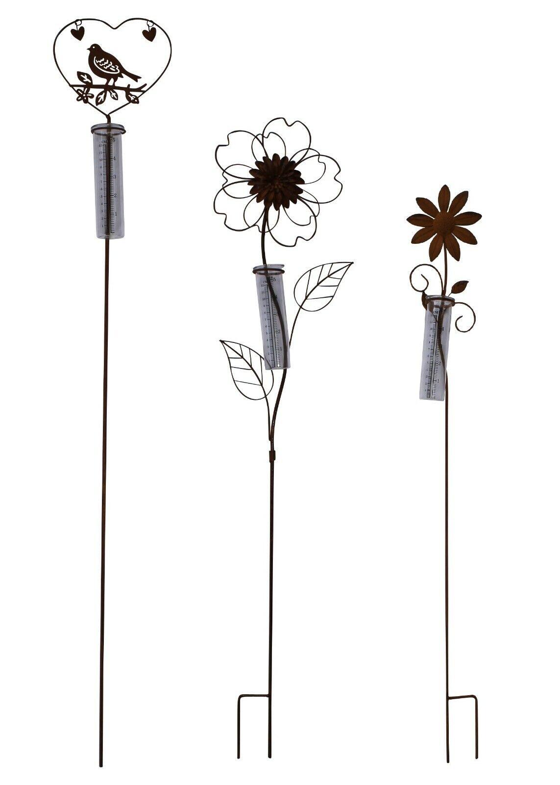 Gartenstecker Regenmesser Blume / Vogel aus Metall Edelrost für Balkon, Garten