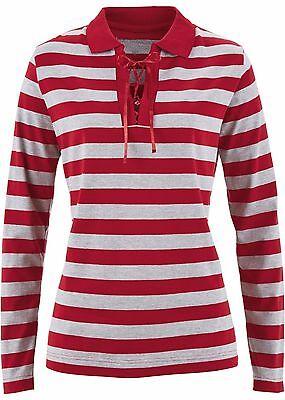 Rotes Damen T-shirt Neue Band (Damen Sportives Poloshirt mit Bindeband,dunkelrot/hellgrau meliert ,Gr.44/46,NEU)