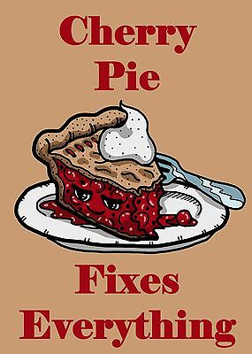 Cherry Pie Fixes Everything Food Humor Cartoon Rectangle Refrigerator Magnet New ()