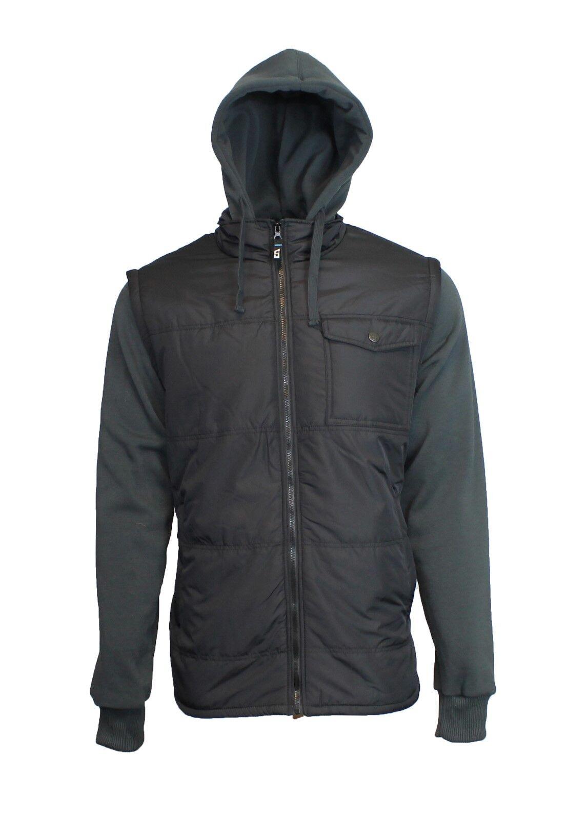 Mens Fleece Lined Hooded Vest Jacket Midweight Coat Zip Clos