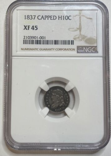 1837 Capped Bust Silver Half Dime H10C NGC XF45