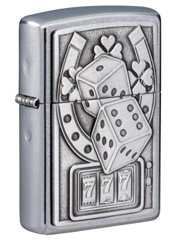 Zippo Lucky 7 Emblem Street Chrome Windproof Pocket Lighter, 49294