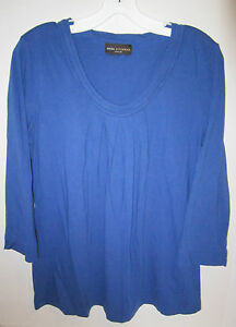 Dana-Buchman-royal-blue-cotton-blend-knit-3-4-sleeve-top-M-L-45-EC